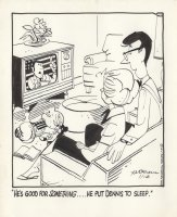 KETCHAM, HANK - Dennis the Menace daily, 11/16 1972, Dennis asleep while Mom & Dad watch TV news Comic Art