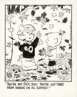 KETCHAM, HANK - Dennis the Menace daily, 10/16 1972, Dennis & Joey with Fall leaves Comic Art