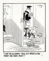 KETCHAM, HANK - Dennis the Menace daily, 11/29 1972, Dennis & Mom get bills from mailman Comic Art
