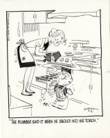 KETCHAM, HANK - Dennis the Menace daily, 3/2 1972, Dennis tell plumber story while Mom bakes cookies  Comic Art