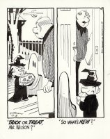 KETCHAM, HANK - Dennis the Menace daily, 10/31 1972, Dennis & Joey as witch & ghost Trick or Treat Mr Wilson Comic Art