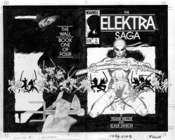 MILLER, FRANK P/I - Elektra Saga #1 extra large wraparound cover - 1st Electra starring cover / series, 1st new solo comic story, 1983 Comic Art