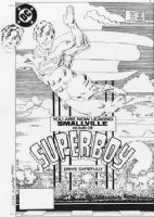 MILLER, FRANK P/I - Superboy #51 cover with a 2nd, seperate hand-drawn Superboy head 1984 Comic Art