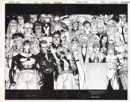 CHAREST, TRAVIS - Shattered Image #2 wraparound cover, homage to the famous Alex Ross' Kingdom Come cover. Incredible art by Charest with all the main Wildstorm characters Comic Art