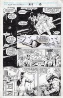 LIM, RON - Captain America #375 pg 8, Cap interrogates a  scum  dangling from his flying motorcycle Comic Art