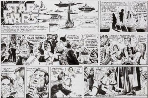 MANNING, RUSS - Star Wars Sunday, Princess Lea as servant girl at feet of Darth Vader, 12/9 1979 Comic Art
