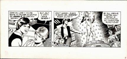 MANNING, RUSS - Star Wars daily, 2 panels, Han, Luke, Chewbacca & C3PO 2/6 1980 Comic Art