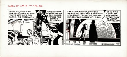 MANNING, RUSS - Star Wars daily, Darth Vader + Luke Leia Han & Chewy 4/21 1980 Comic Art