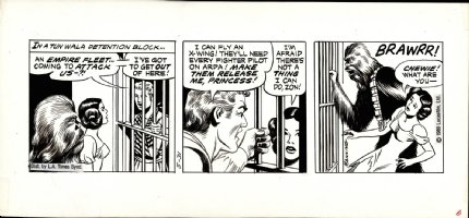 MANNING, RUSS - Star Wars daily, Princess Leia & Chewy in jail scene 5/31 1980 Comic Art