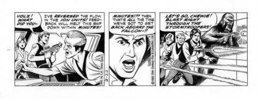 MANNING, RUSS - Star Wars daily, Luke, Han & Chewy fire weapons, 2/22 1980 Comic Art