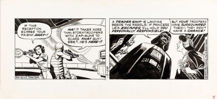 MANNING, RUSS - Star Wars daily, 2 panels - large Dark Vader + Leia  12/28 1979 Comic Art