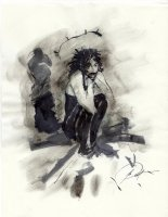 PRATT, GEORGE - Sandman's sister DEATH ink/wash drawing, Death sits, 8.5  by 11  1992 Comic Art