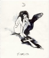 WILLIAMS, KENT - Sandman's sister DEATH ink/wash drawing, nude with Ankh shadow 8.5  by 11  1992 Comic Art