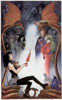 VESS, CHARLES - Gaiman's Books of Magic series #4 cover painting:  Death, Sandman & the Endless, Queen Titania, Tim Hunter (logo on overlay) Comic Art