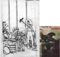 DARROW, GEOF - Death Gallery #1 final pencil art - pinup splash, Sandman' sister Death as domestic, 1994 Comic Art