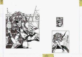 MADUREIRA, JOE - X-Men card art, both on 1 board - Callisto, front and back art Comic Art