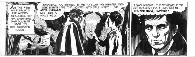 BALD, KEN - Dark Shadows - 2 panel daily, Barnabas 8/9 1971 Comic Art