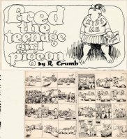 CRUMB, ROBERT - Help #24 title panel, Fred Teenage Girl Pigeon, 2nd Fritz Cat 1965 Comic Art