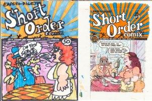 SPIEGELMAN, ART - Short Order Comix #1 Cover concept artwork + Cover coloring art,  Toots & Miss serve crab joke, Art's classic story Hell Planet Comic Art
