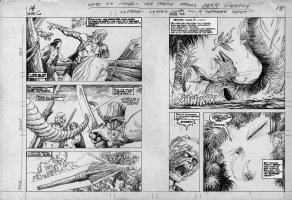 BUSCEMA, JOHN & ALFREDO ALCALA - Kazar #6 double pgs 14 & 15, Kazar & crew vs sea-dino, 1974 Comic Art