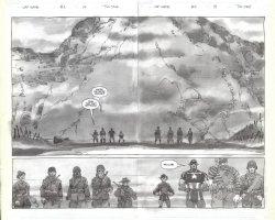 SALE, TIM - Captain America White #2 pgs 14 & 15, double-splash - Cap + Bucky + Sgt Fury & Howling Commandos Comic Art