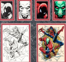SALE, TIM - Marvel Universe Card #95 card ink art + color art: Spider-Man & Sleepwalker 1992 Comic Art