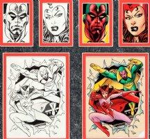 SALE, TIM - Marvel Universe 3 Card #85 card ink art + color art: Vision and Scarlet Witch 1992 Comic Art