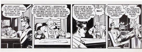 COLE, JACK inking over LOU FINE - Spirit daily 12/20 1943? Spirit & Commish Comic Art