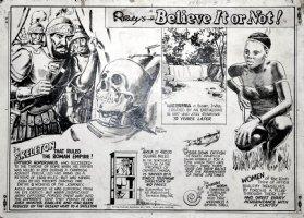 RIPLEY Studio / PAUL FREHM - 'Believe it or not' Sunday 1978, Roman Emperor skull, tribal Woman Comic Art