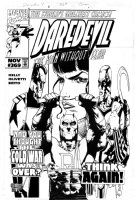 OLIVETTI, ARIEL - Daredevil #369, Daredevil and the Black Widow. Russian bad guys are pasted onto the board Comic Art