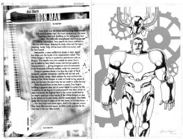 OLIVETTI, ARIEL - Marvel Universe Millennial Visions 2001 pg 12, lettering production page that comes with the artwork of the opposing splash page with the first appearance of Iron Man, Earth-10201 Comic Art