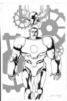 OLIVETTI, ARIEL - Marvel Universe Millennial Visions 2001 splash/cover, first appearance of Iron Man, Earth-10201 Comic Art