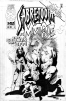 OLIVETTI, ARIEL - Sabertooth and Mystique #3 cover, both mutants shown. Mystique is handdrawn on paper over another version of her figure Comic Art