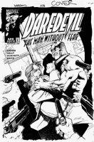 OLIVETTI, ARIEL - Daredevil #374 cover, Daredevil, knife fight and guns Comic Art
