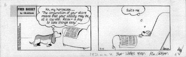 GRAHAM, ALEX - Fred Basset daily 7/14 1980, horoscope, signed Comic Art