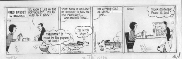 GRAHAM, ALEX - Fred Basset daily 9/13 1973, Fred makes peace with masters Comic Art