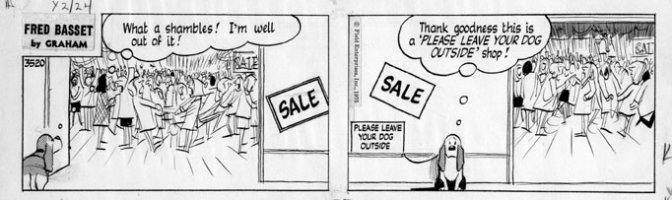 GRAHAM, ALEX - Fred Basset daily #3520 1975 Comic Art