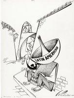 PROHIAS - Political Cartoon large-size, USSR Khrushchev stealing Latin America Communist / pre-Mad 1962 Comic Art