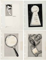 PROHIAS - All New MAD Secret File on Spy vs Spy book, 4 ink bio pages, Self-Portrait 1965 Comic Art