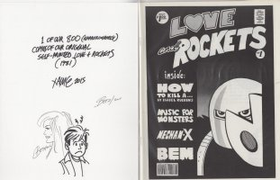 HERNANDEZ, LOS BROS - Love & Rockets #1 (800 copies) self published by Jaime and Gilbert +note & drawings on mag. board  1981 Comic Art