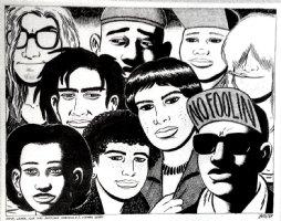 HERNANDEZ, GILBERT - Love and Rockets Calendar plate Art - 9 characters - 1989 Comic Art