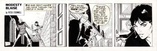 ROMERO - Modesty Blaise daily #2476 Modesty & Willie trapped in castle 1970 Comic Art