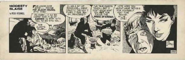 HOLDAWAY, JIM - Modesty Blaise daily #1235 Modesty & Willie in cat-suits 1967 Comic Art