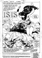 VOSBURG, MIKE - Isis #6 pg 1, splash of DC's famous 1970's superheroine, NOT a member of a terrorist org! Isis flies in front of Egypt Pyramids Comic Art