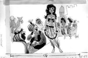 HOEST, BILL - Timely-Humor cartoon - Good Girl art, Slave Girl auction 1950s Comic Art