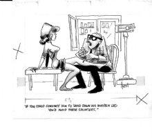 HOEST, BILL - Timely-Humor cartoon - Good Girl art, Doctor checks legs for splinters 1950s Comic Art