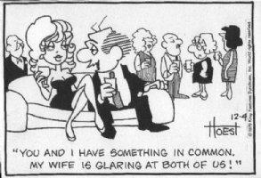 HOEST, BILL - Lockhorns daily, babe on coach 12/4 1973 Comic Art