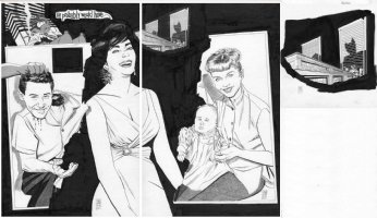 SIM, DAVE - Cerebus final story - Glamourpuss #18 double-splash + Page, Cerebus Madmen Age, Liz Taylor Eddie & Carrie Fisher &  Debbie Reyolds Comic Art