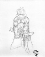 SIM, DAVE - Cerebus ala Frazetta Conan pencil sketch, personalized Comic Art