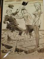 WARD, BILL - Timely/ Humorama Good Girl pinup, Blonde on life-raft Comic Art